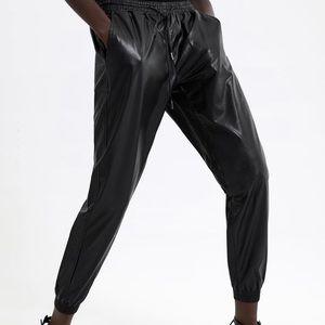 NWT Zara Premium Faux Leather Joggers